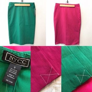 Set of 2 Size S Pencil Skirt Green & Pink